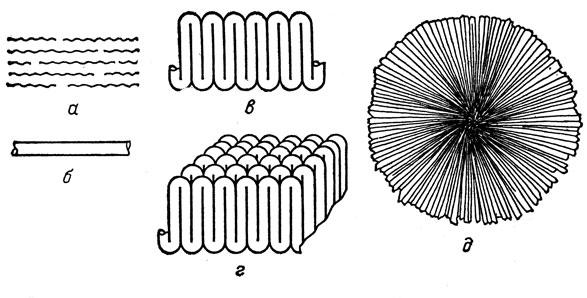 полимера: а) схема пачки