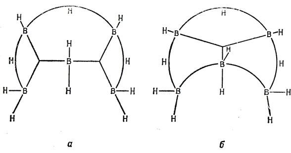 Схемы связей в В5Н11. а - в